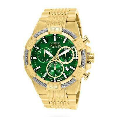 Invicta Bolt 25869 Men's Gold Tone Chronograph Green Dial Cable Bezel Watch