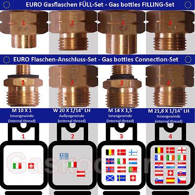 EURO-FLASCHEN + FÜLL SET Gasflaschen-Anschluss-Adapter-Übergangsstutzen Europa (übergang Flasche)