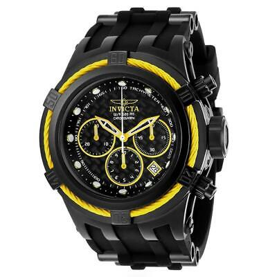 Invicta Bolt Zeus 22451 Mens Black Silicone Yellow Cable Bezel Chronograph Watch