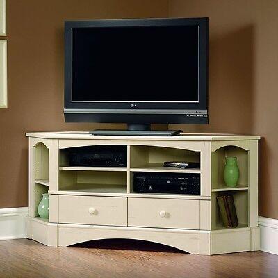Sauder Harbor View Corner Tv Stand In Antiqued White Finish  402905 New