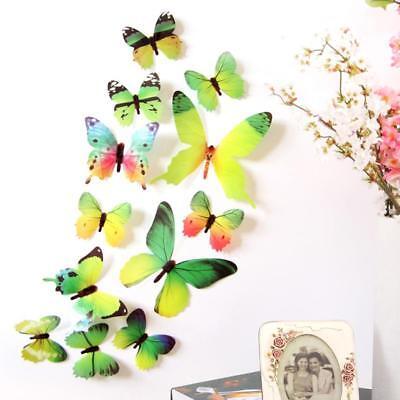 rling Wandtattoo Deko Wandaufkleber grün gelb bunt Aufkleber (Bunter Schmetterling Tattoos)