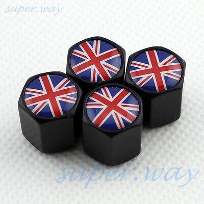 BLACK Wheel Tire Tyre Valve Cap England Britain United Kingdom UK National Flag