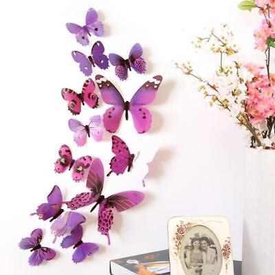 12 x 3D Set Schmetterling Wandtattoo Deko Wandaufkleber lila Aufkleber violett Klassisches 12
