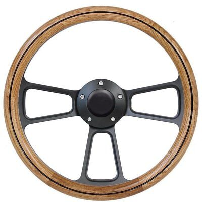 1961-1964 Ford F Series Pick Up Truck Oak & Black Billet Steering Wheel, Adapter