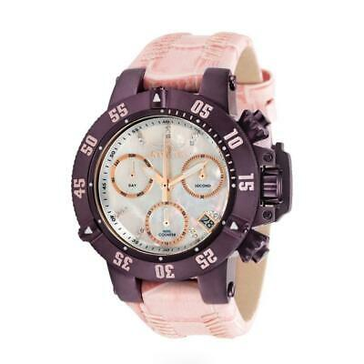 Invicta Subaqua Noma III 31024 Women's Pink Leather Mother of Pearl Chrono Watch
