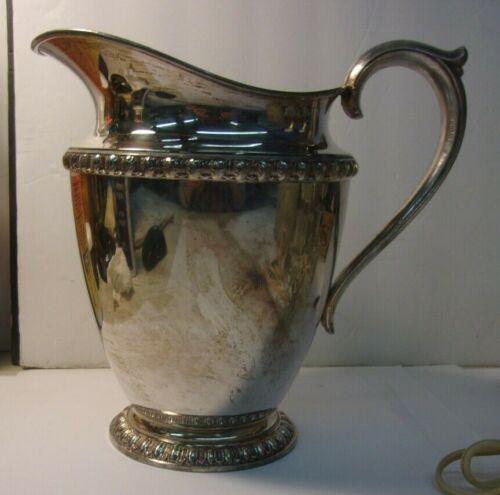 "Vintage FENWICK WM Rogers #1217 Leaf Pattern Silver-Plated Water Pitcher 8"""