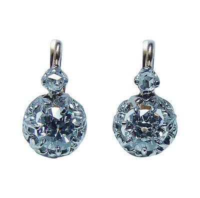 Antique Old Miner Mine cut Diamond Earrings 18K Gold French Backs Estate