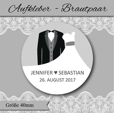 personalisierte Aufkleber Hochzeit - Brautpaar - für Gastgeschenke & Einladungen