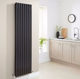 HIGH GLOSS BLACK VERTICAL DOUBLE OVAL TUBED RADIATOR 1780 X 590, NEW!!