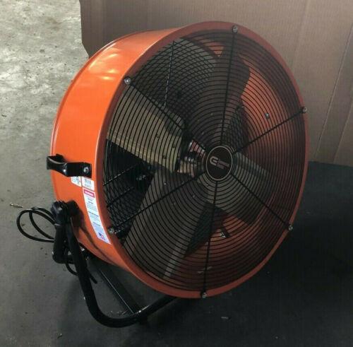 24 Inch Orange Direct Drive Industrial Grade Fan w/ 180 degree tilt