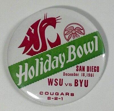 "WOW! 1981 San Diego Holiday Bowl - Washington St. vs BYU - 3"" Pin Pinback Button"