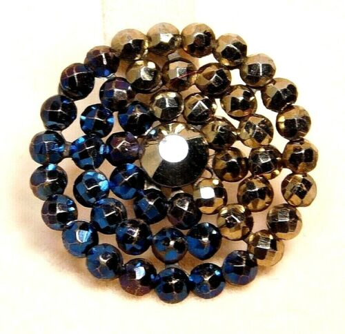 Antique BUTTON Victorian Bright Cut Steels Half Blue Half Gold NICE! #B15