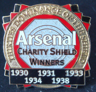 ARSENAL Victory Pins 1930s 5 Times winners of CHARITY SHIELD Danbury Mint badge