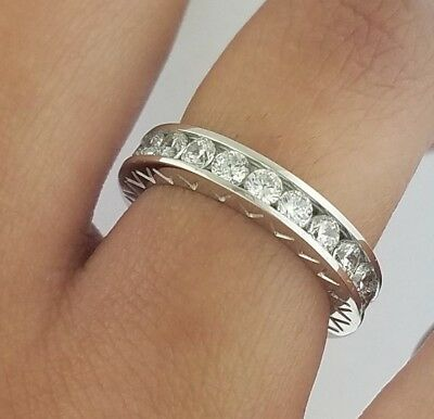 2 CT Round Diamond Eternity 3.5 mm Wedding Band Channel Set Ring 14K White Gold