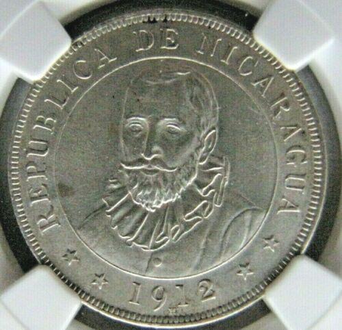 Nicaragua 50 Centavos de Cordoba 1912-H NGC UNC. details