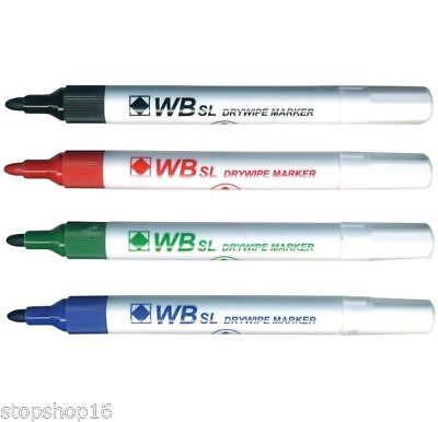 Whiteboard Drywipe Marker Pens Bullet Tip - 4 Assorted Colours