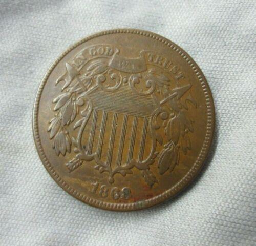 1868 Two Cent Piece XF/AU