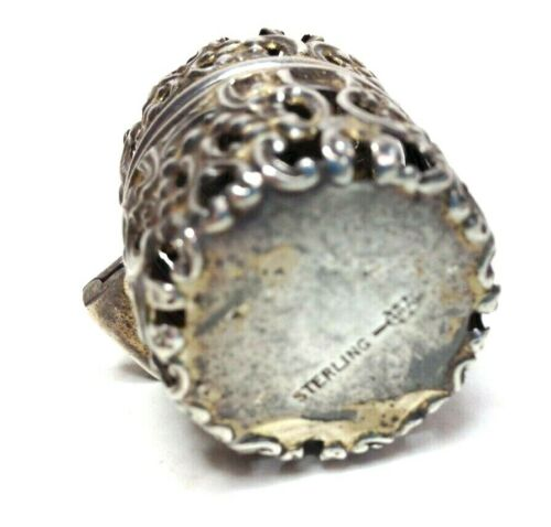 Antique Jeweled Sterling Silver Thimble and Holder REPOUSSE Basket