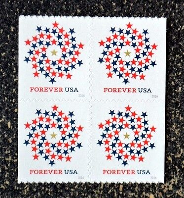 2016USA #5131 Forever Patriotic Spiral - Block of 4 From Booklet  Mint NH