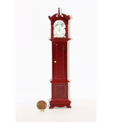 Dollhouse Miniature 1:12 Scale Traditional Grandfathers Clock in Cherry Wood