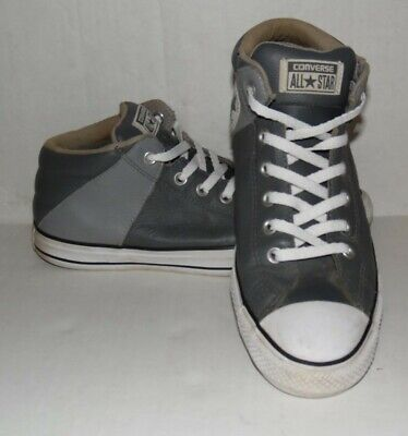 CONVERSE All-Star Leather High-Top Grey Sz 9 Men Shoes. Size 9
