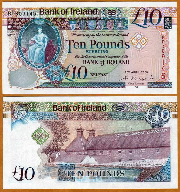Bank of Ireland, 10 pounds, 2008, P-84, New Design UNC