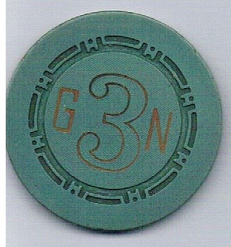 Golden Nugget Casino Green G3N Roulette Chip Las Vegas Nevada 1958