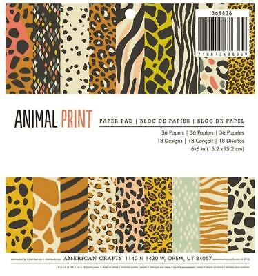 American Crafts ANIMAL PRINT 6x6 Paper Pad Scrapbook Planner Home Decor 36pc - Animal Print Paper