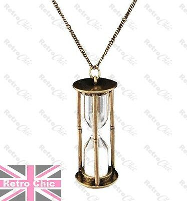 (LARGE HOURGLASS pendant VINTAGE GOLD fashion SAND TIMER GLASS VIAL long NECKLACE)