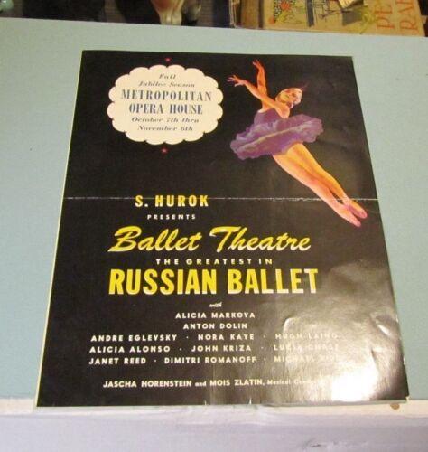 Fall 1945 Russian Ballet New York Metropolitan Opera House Brochure Anton Dolin