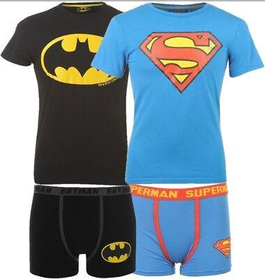 ✅ DC COMICS Herren T-Shirt + Boxershorts BATMAN o. SUPERMAN Fanartikel Kino Set