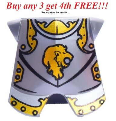 ☀️NEW Lego Kingdoms Minifig Pearl GRAY KNIGHT ARMOR Chest Plate w/Gold Lion 7947](Gold Chestplate)