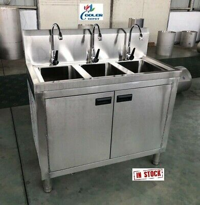 New 39 Stainless Steel Sink Cabinet 3 Compartment Commercial Kitchen Bar Ssc39