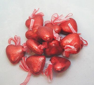 Valentine Heart Ornament Set 12 Glitter 2
