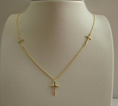Three Cross Necklace Pendant   14K Yellow Gold Over 925 Sterling Silver   18