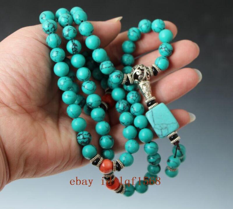 china tibet tibetan turquoise buddhist buddha worry prayer bead mala necklace N