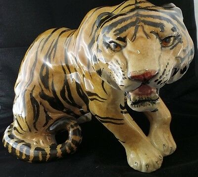 Hand-Painted Tiger Porcelain Ceramic Sculpture Statue Made in Italy