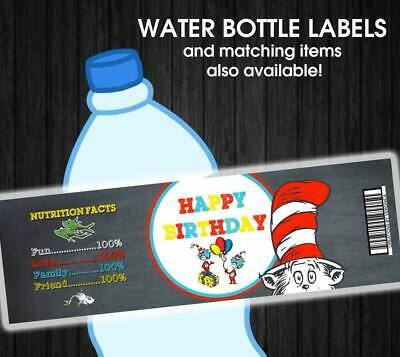 Dr. Seuss Cat in The Hat Waterproof Birthday Water Bottle Labels](Cat In The Hat Birthday Decorations)