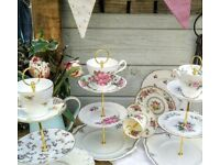 Vintage English China Cake Stand Afternoon Tea Set Pretty Floral