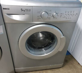 C462 silver beko 5kg 1200 spin washing machine comes with warranty can be delivered or collected