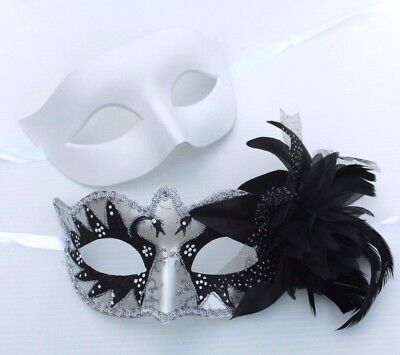 HIS N HERS PAIR COUPLES WHITE SILVER BLACK VENETIAN MASQUERADE PARTY  EYE MASKS (Black N White Mask)