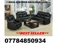 3+2 RECLINER LEATHER SOFA BLACK OR BROWN