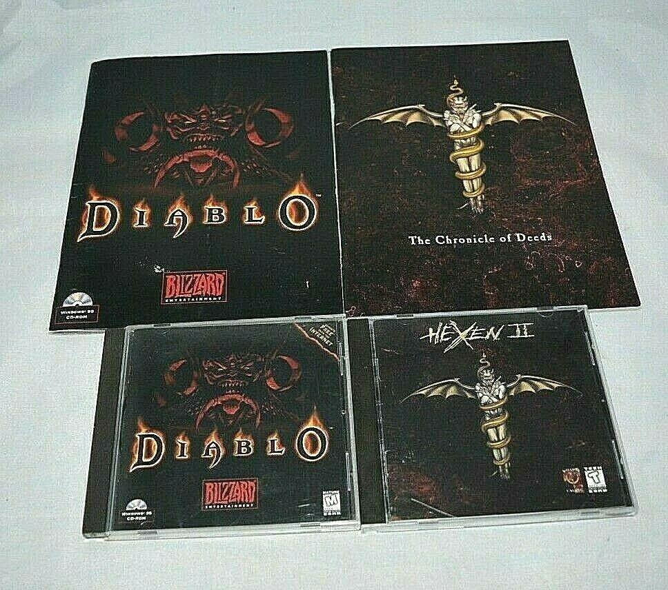 Computer Games - Hexen II and Diablo (PC CD-ROM, 1997) Computer Video Game Windows W/ Manual