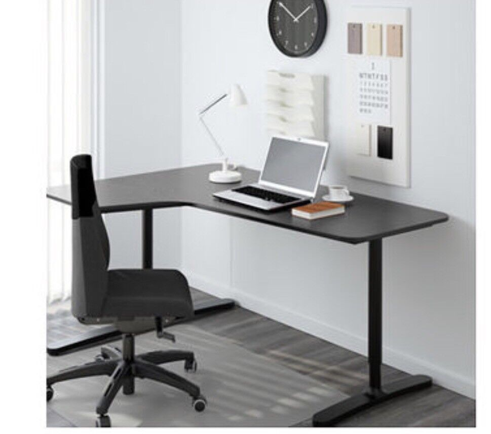Corner Desk Left Bekant Black Brown