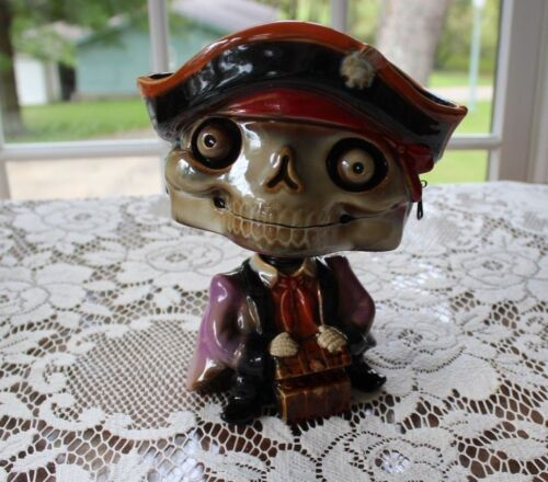 Pirate Skeleton bobble head candy dish halloween