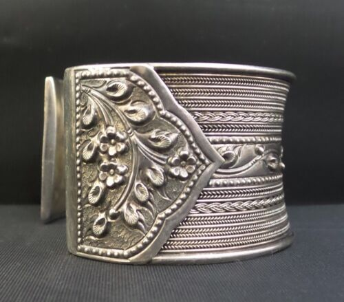 WIDE Sterling Silver Ethnic/Tribal East Indian Asian Cuff Bracelet