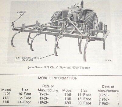 John Deere 1001 100i Series Chisel Plow Parts Catalog Manual Book Jd