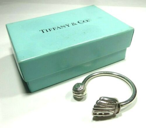 AUTHENTIC TIFFANY & CO BASKETBALL BASEBALL GLOVE KEY CHAIN STERLING SILVER 925