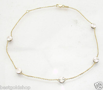 Diamond Cut Disc Ankle Bracelet Anklet Cable Chain Real 14K Yellow White (Gold Anklet Diamond Cut Cable)