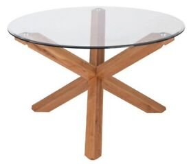 Solid Oak & Glass Dining Table